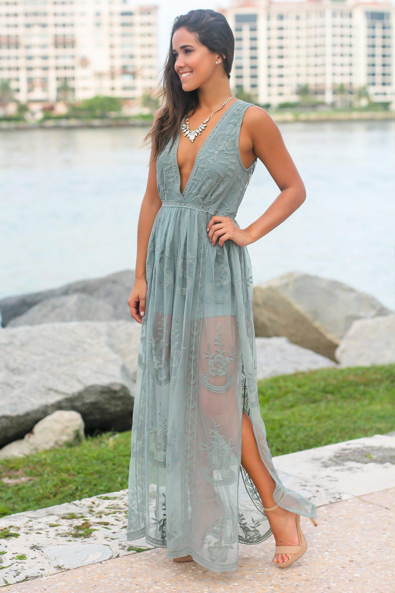 Dark Sage Lace Sleeveless Maxi Romper