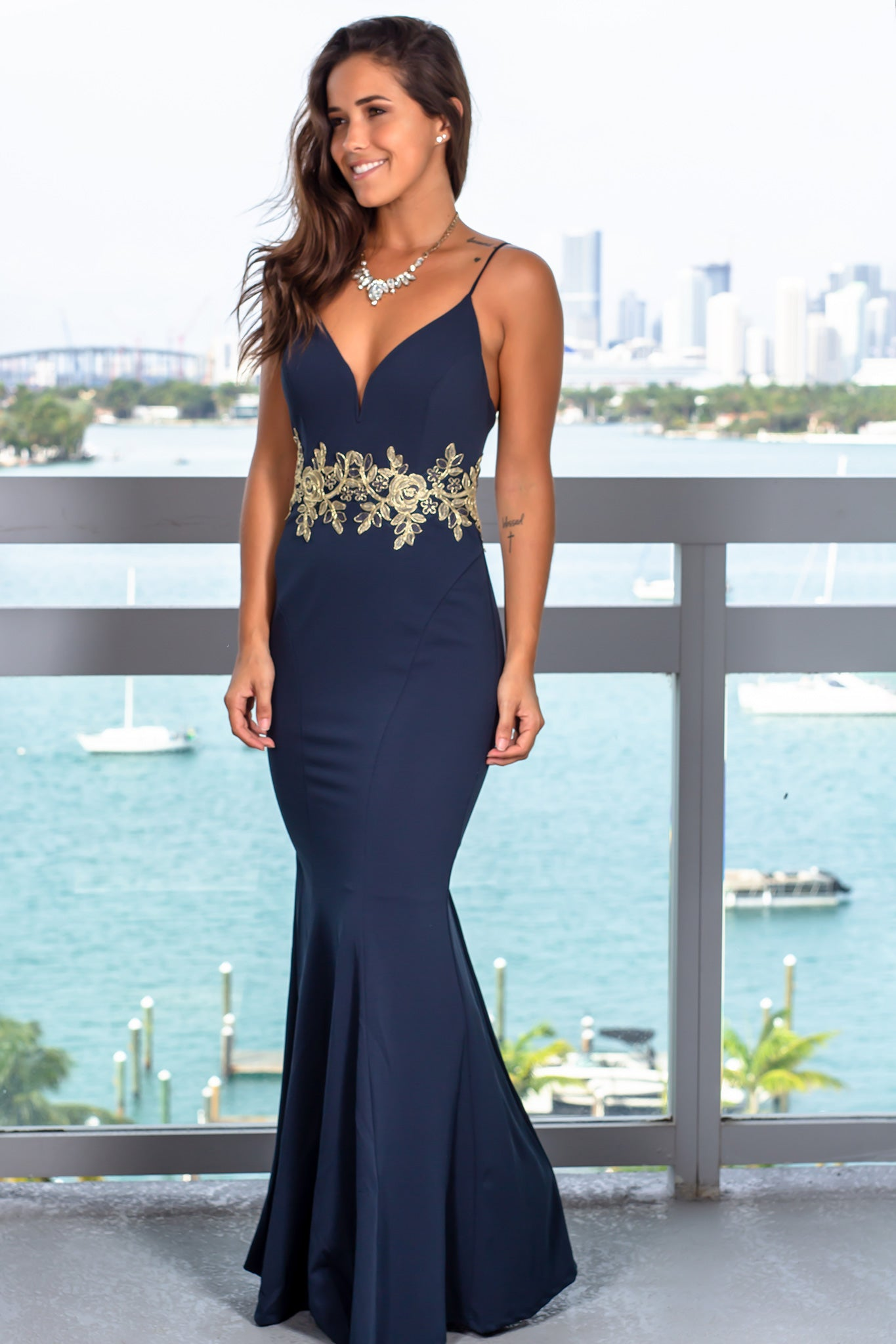 Dark Teal Maxi Dress with Gold Detail