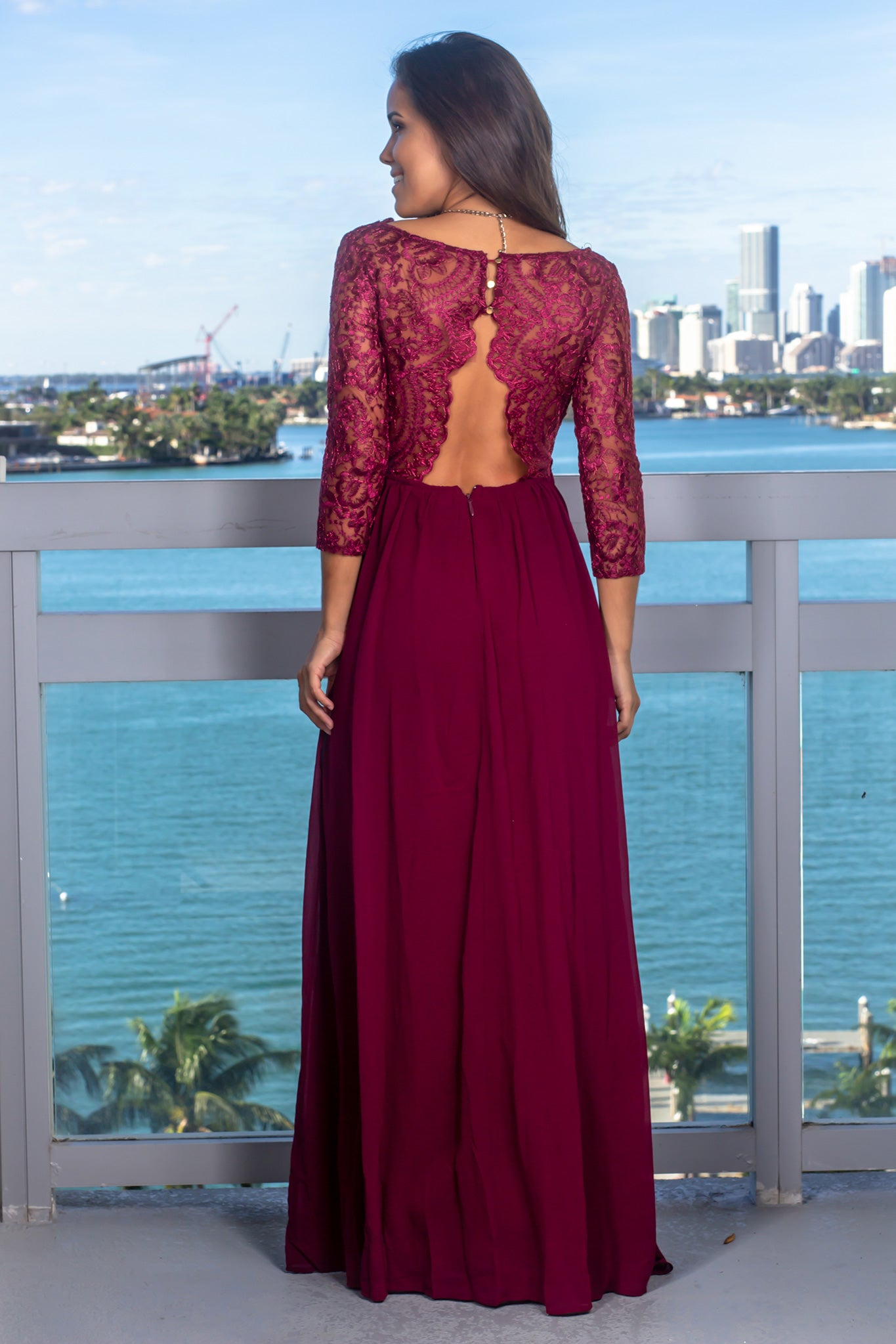Deep Berry Embroidered Top Maxi Dress with 3/4 Sleeves