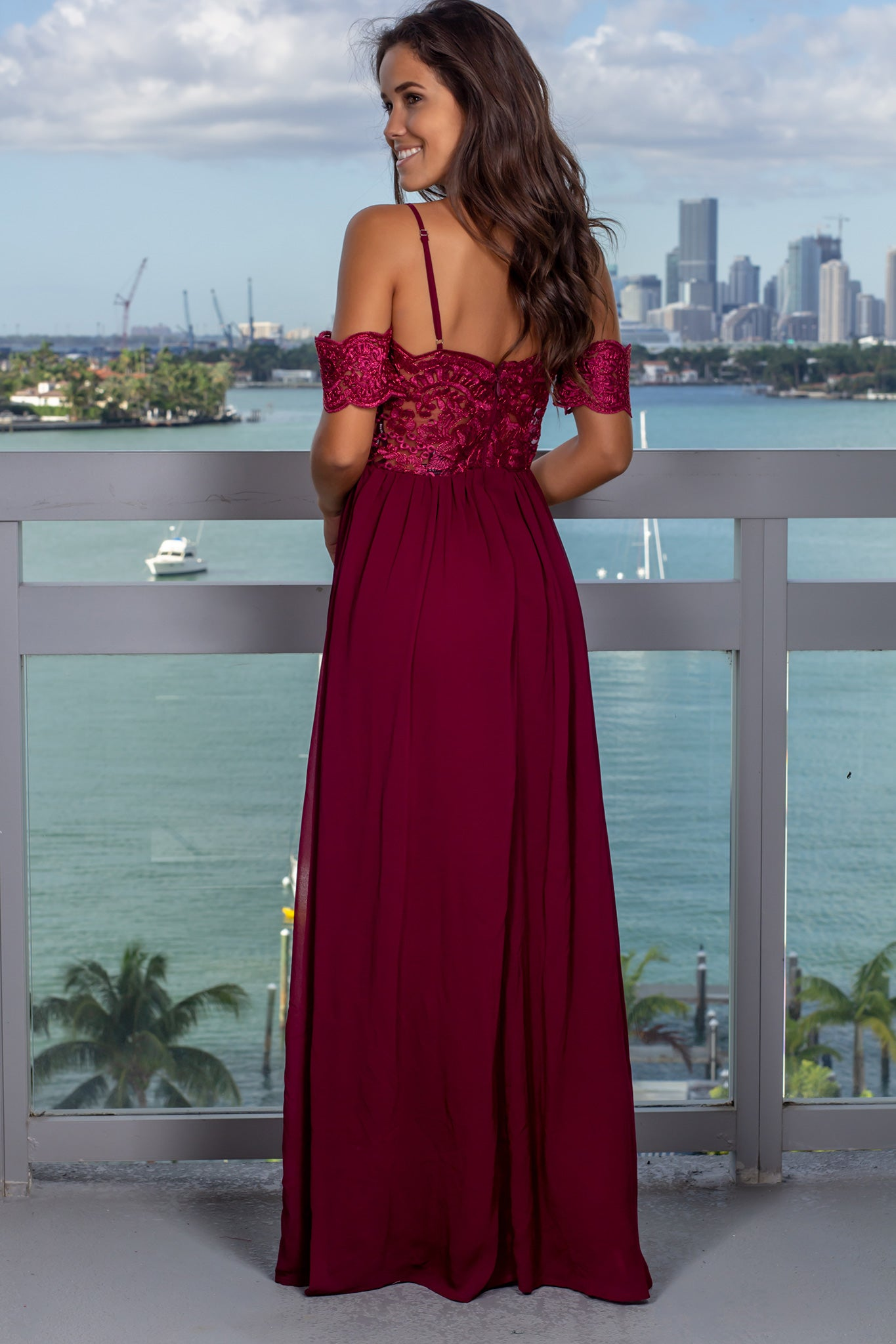 Deep Berry Off Shoulder Embroidered Top Maxi Dress