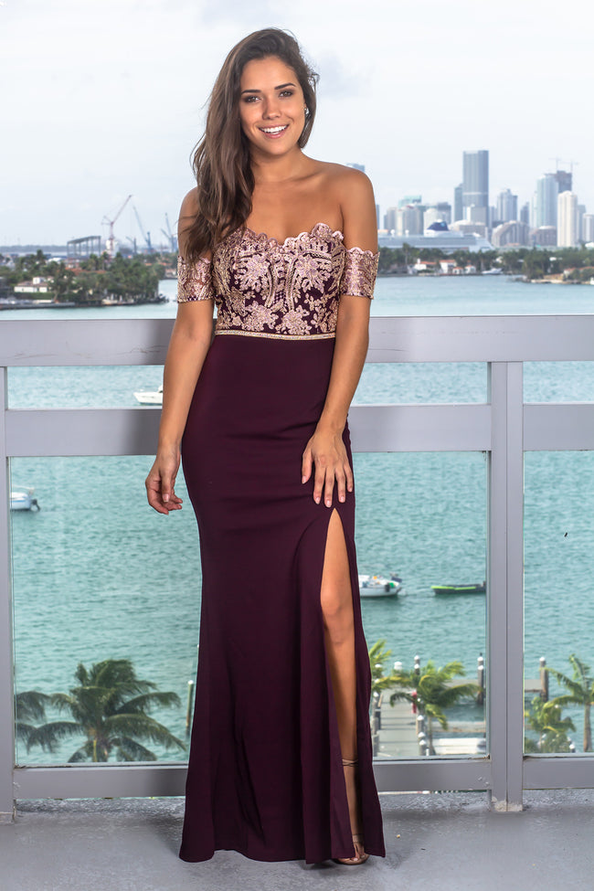 Deep Burgundy Embroidered Off Shoulder Maxi Dress with Jewel Detail