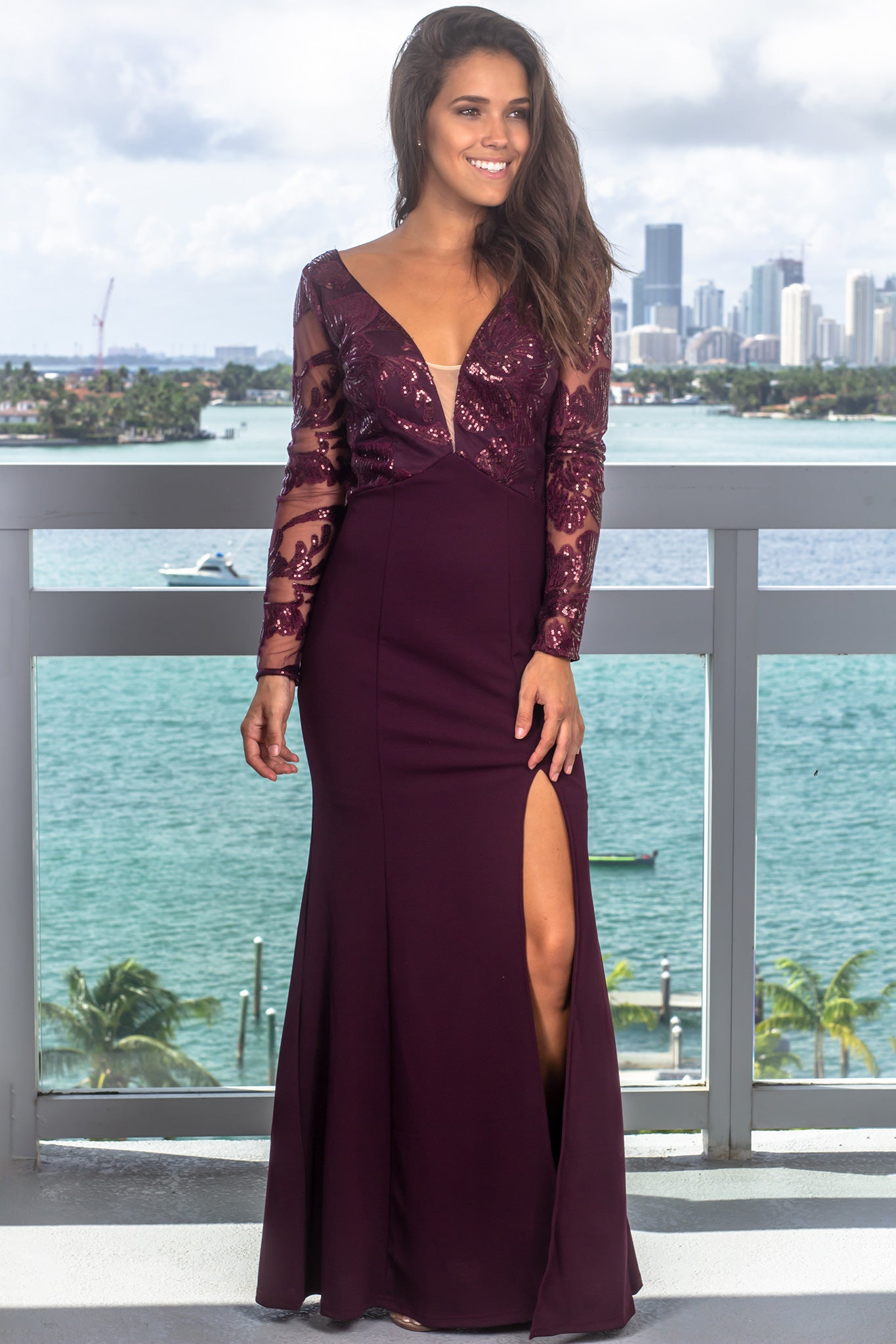Deep Burgundy Maxi Dress with Sequin Sleeves