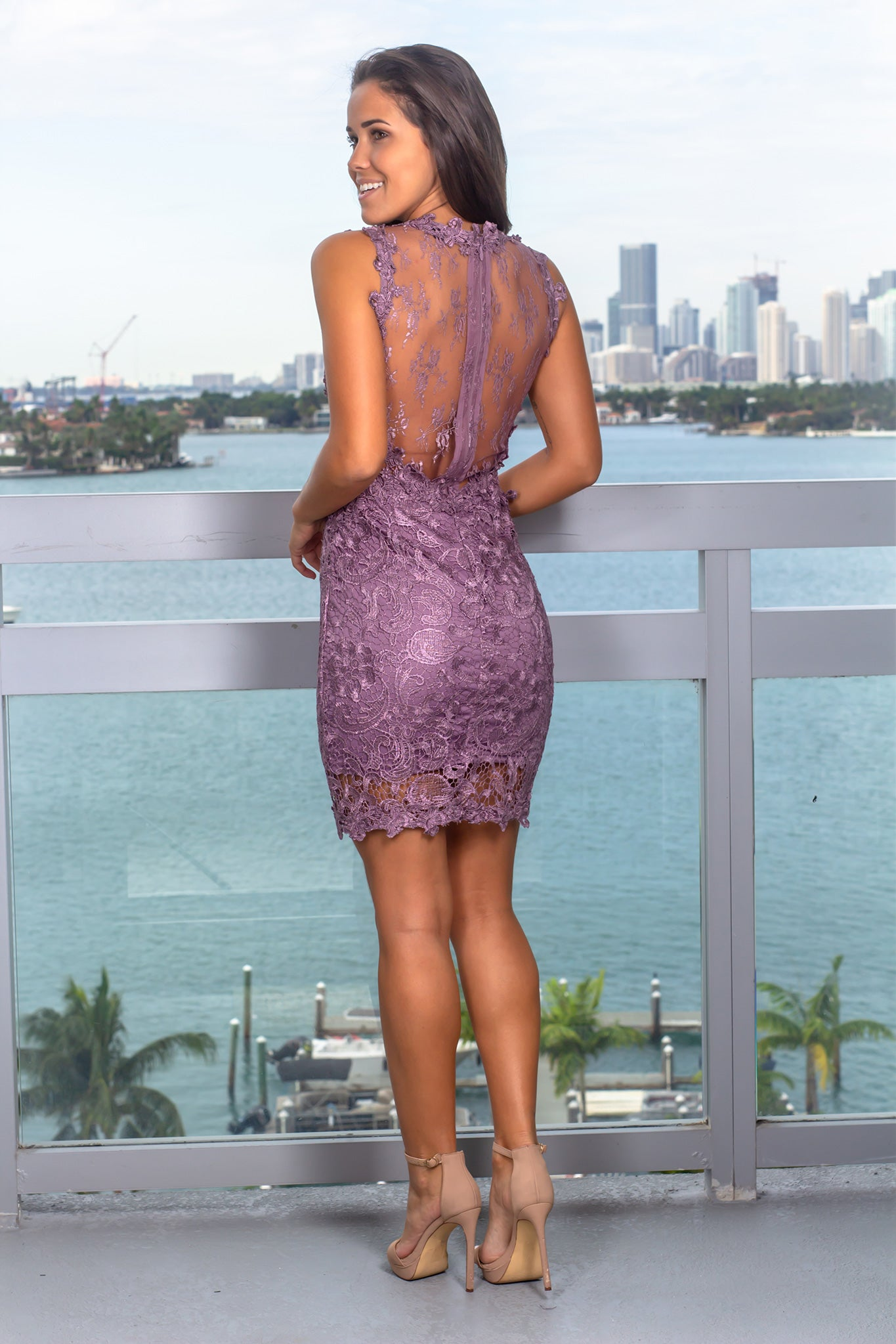 Deep Mauve Lace Short Dress