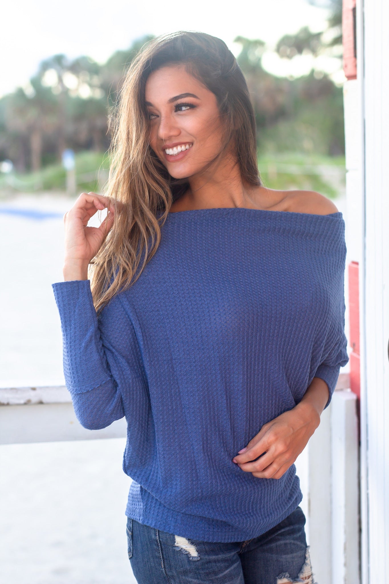 Denim Blue Off Shoulder Knit Top
