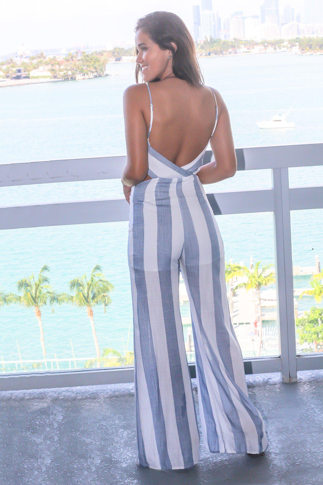 Denim Blue Striped Jumpsuit with Waist Cut Out