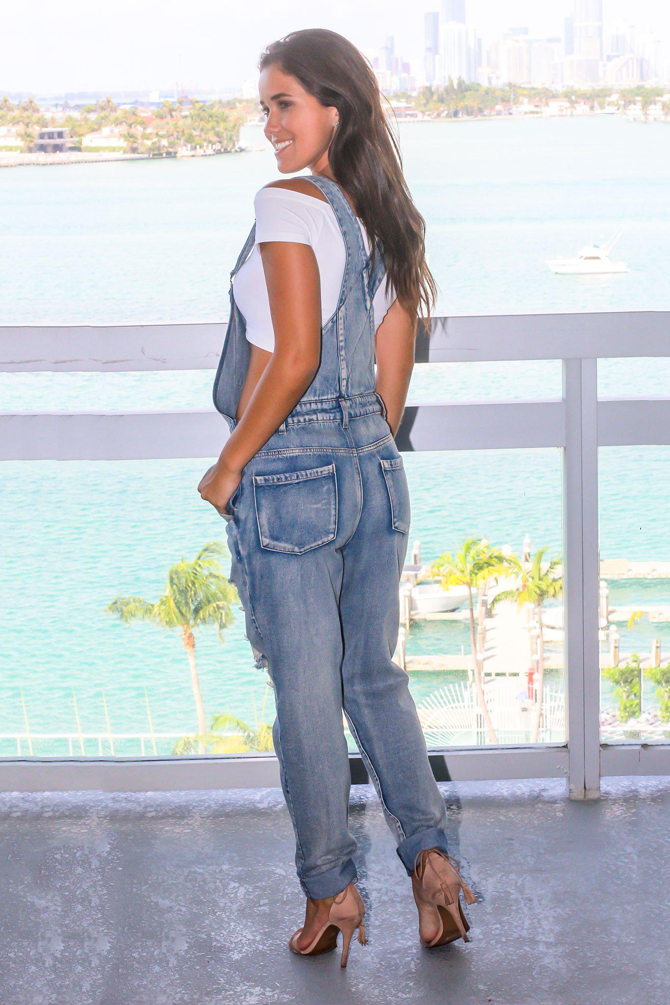 Denim Distressed Overalls
