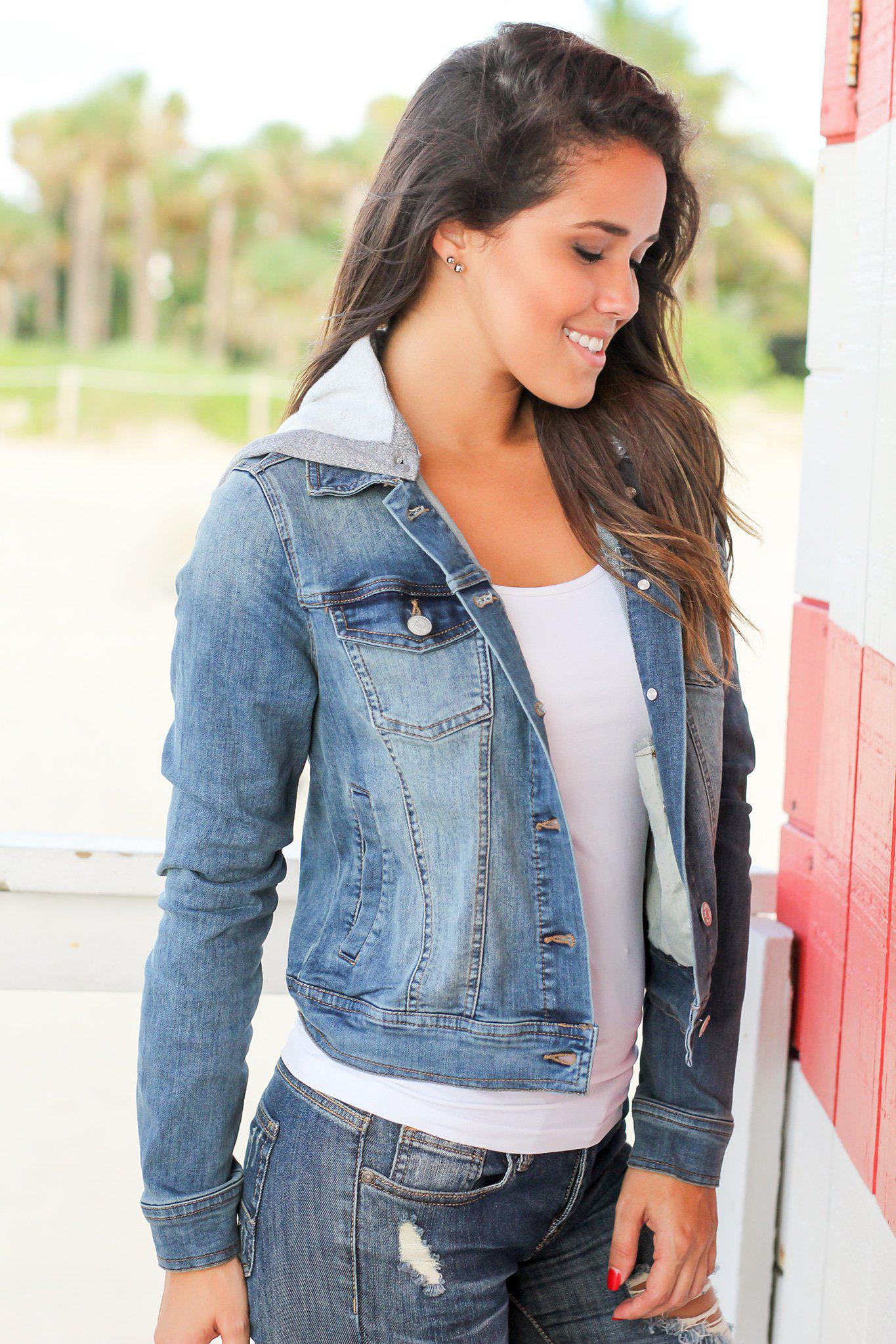 Denim Jacket with Detachable Hood