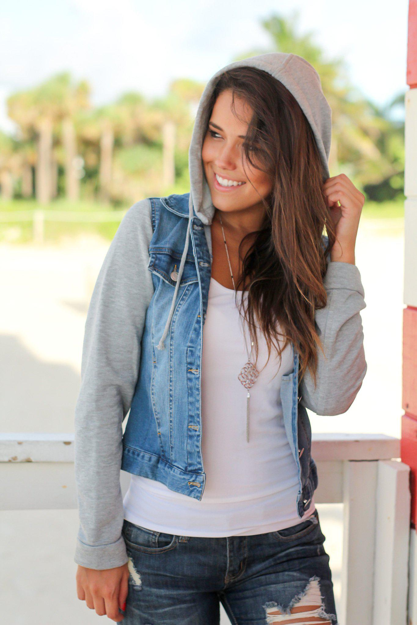Denim Jacket with Sweatshirt Sleeves and Hood