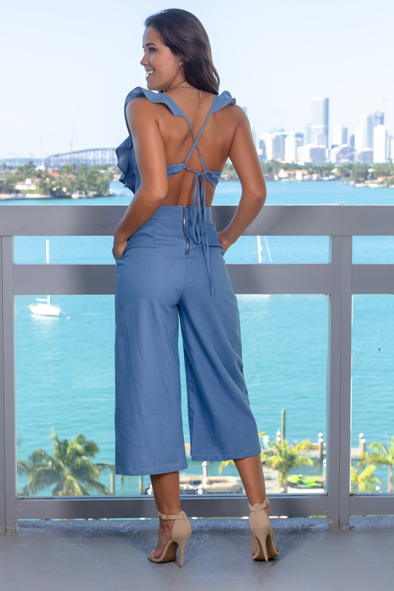 Denim Jumpsuit with Pockets