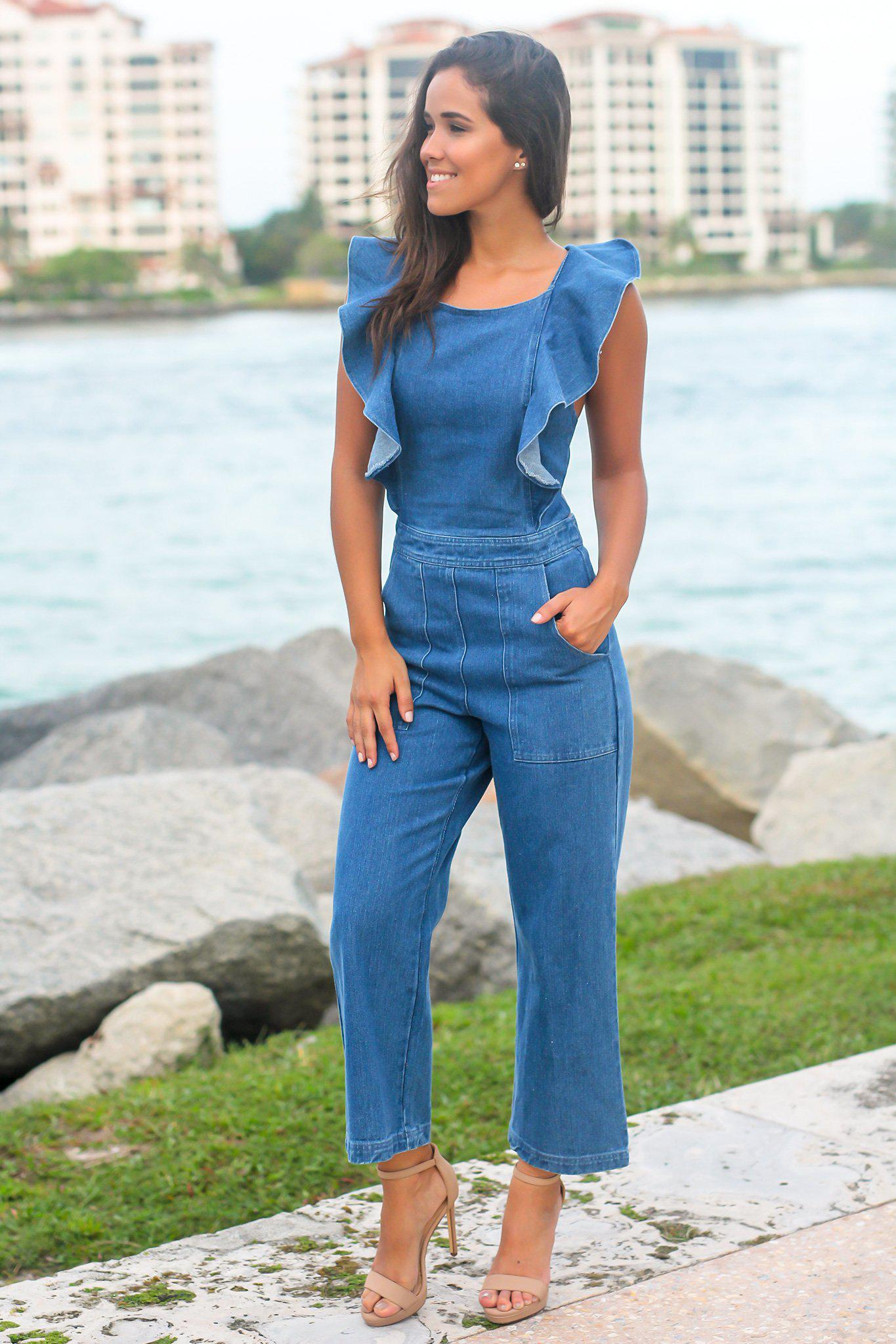 Denim Jumpsuit with Ruffle Detail