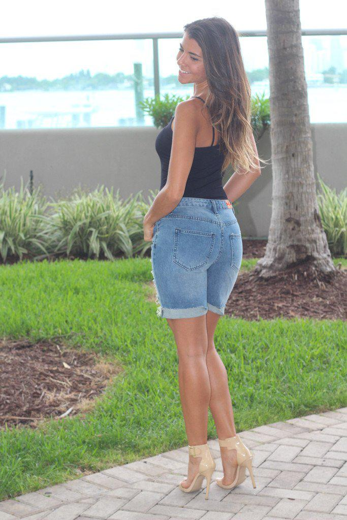 Distressed Denim Bermuda Shorts