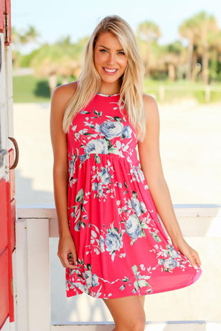 Hot Pink and Blue Floral Short Dress
