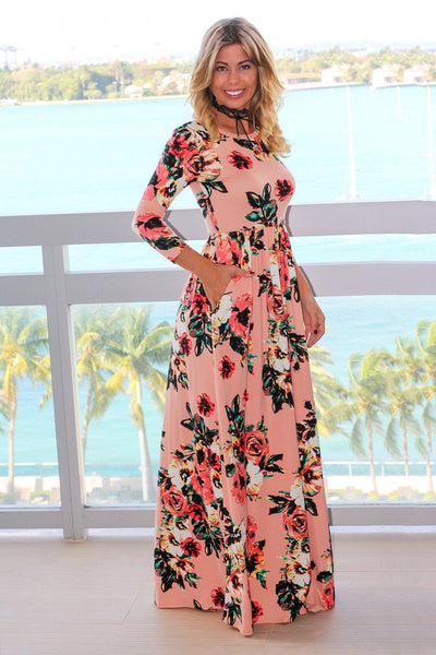 Blush Floral Maxi Dress With 3 4 Sleeves Maxi Dresses