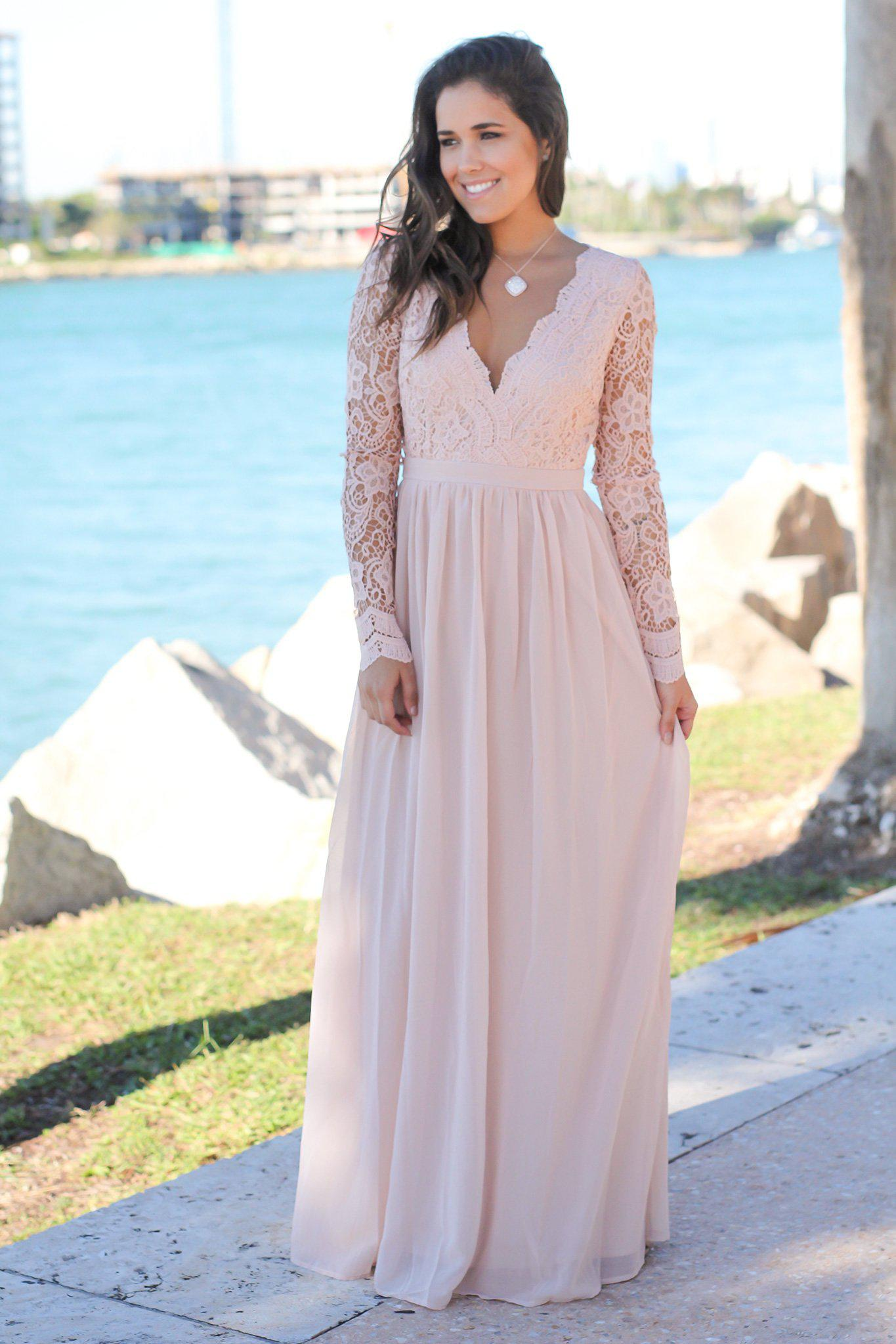 Blush crochet maxi dress with open back and long sleeves bridesmaid dresses dress boutiques ombrellifo Choice Image