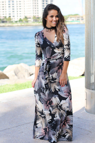 Black Floral 3/4 Sleeve Wrap Maxi Dress