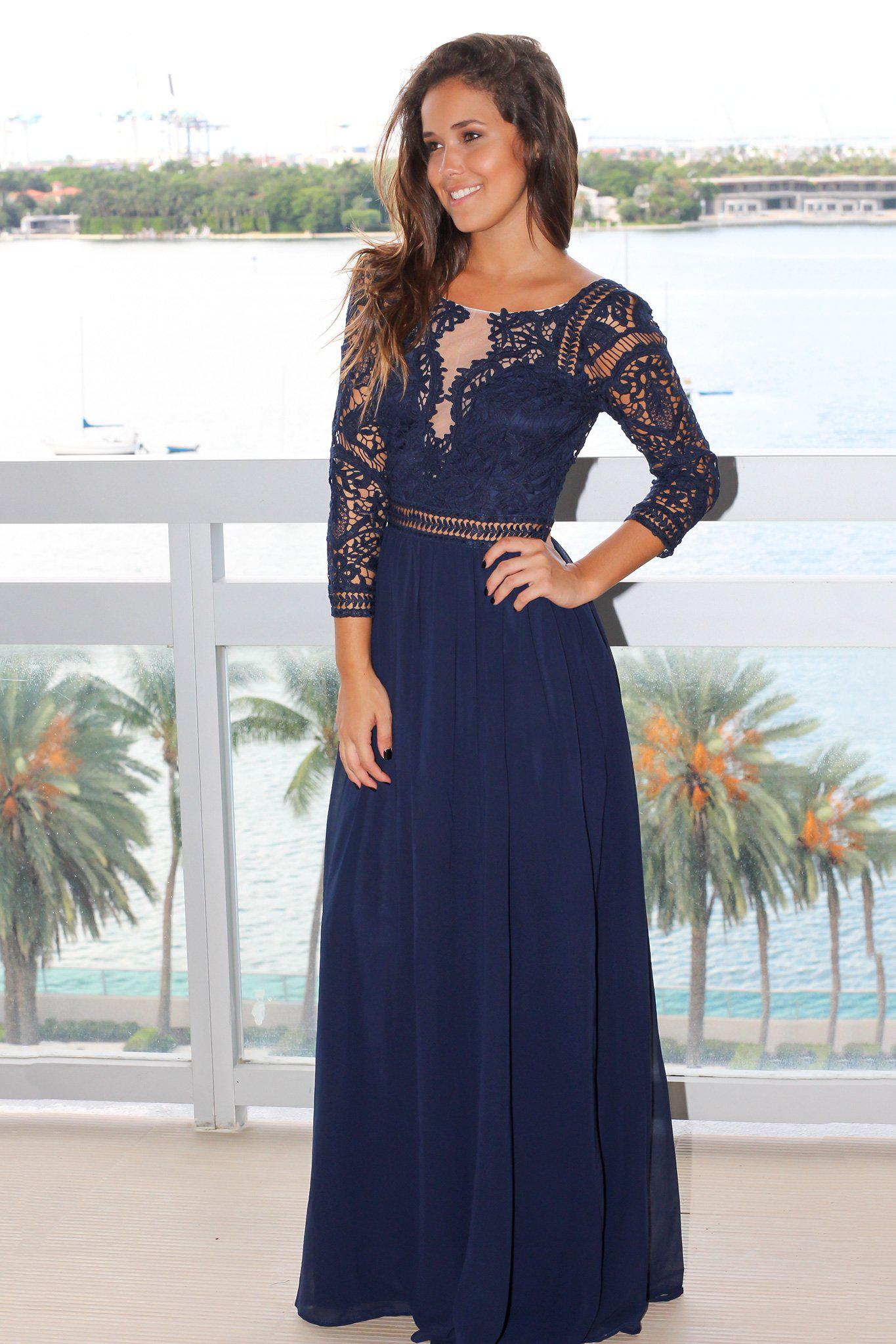 9bbff744dc Navy Crochet Maxi Dress with 3/4 Sleeves | Maxi Dresses – Saved by ...