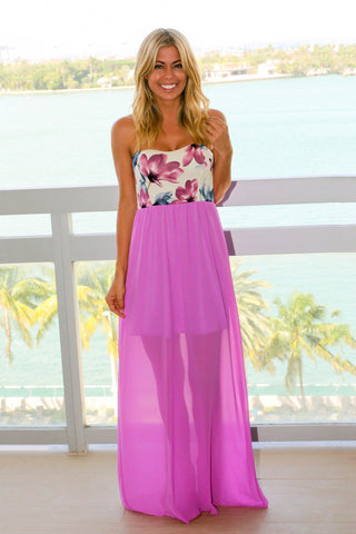 Lavender Maxi Dress with Navy Floral Top