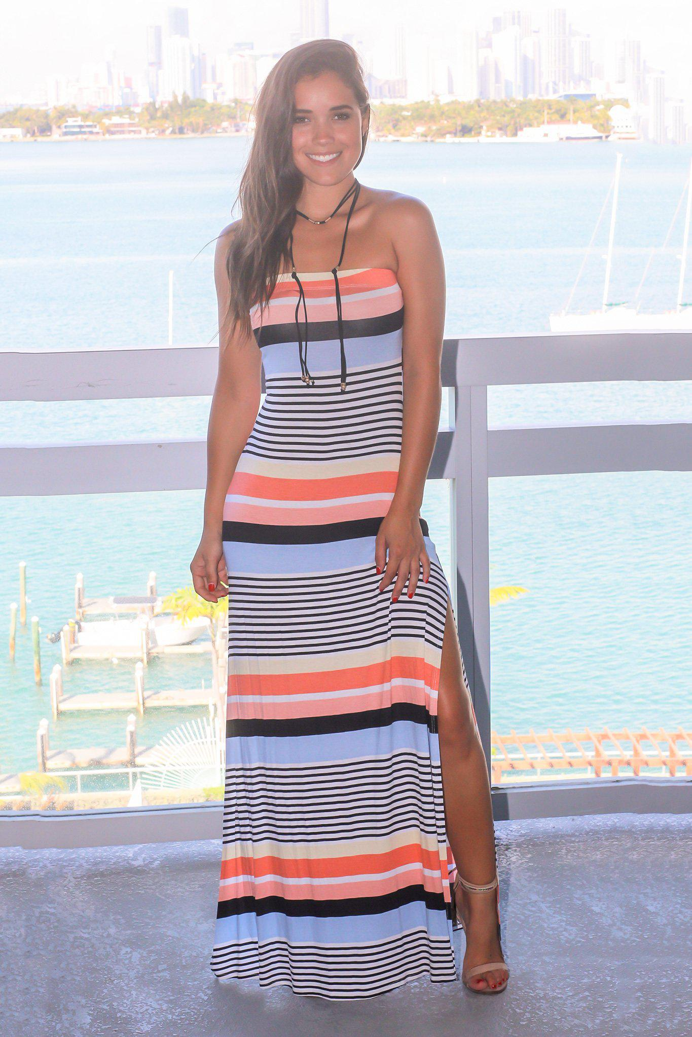 Multi Colored Strapless Striped Maxi Dress