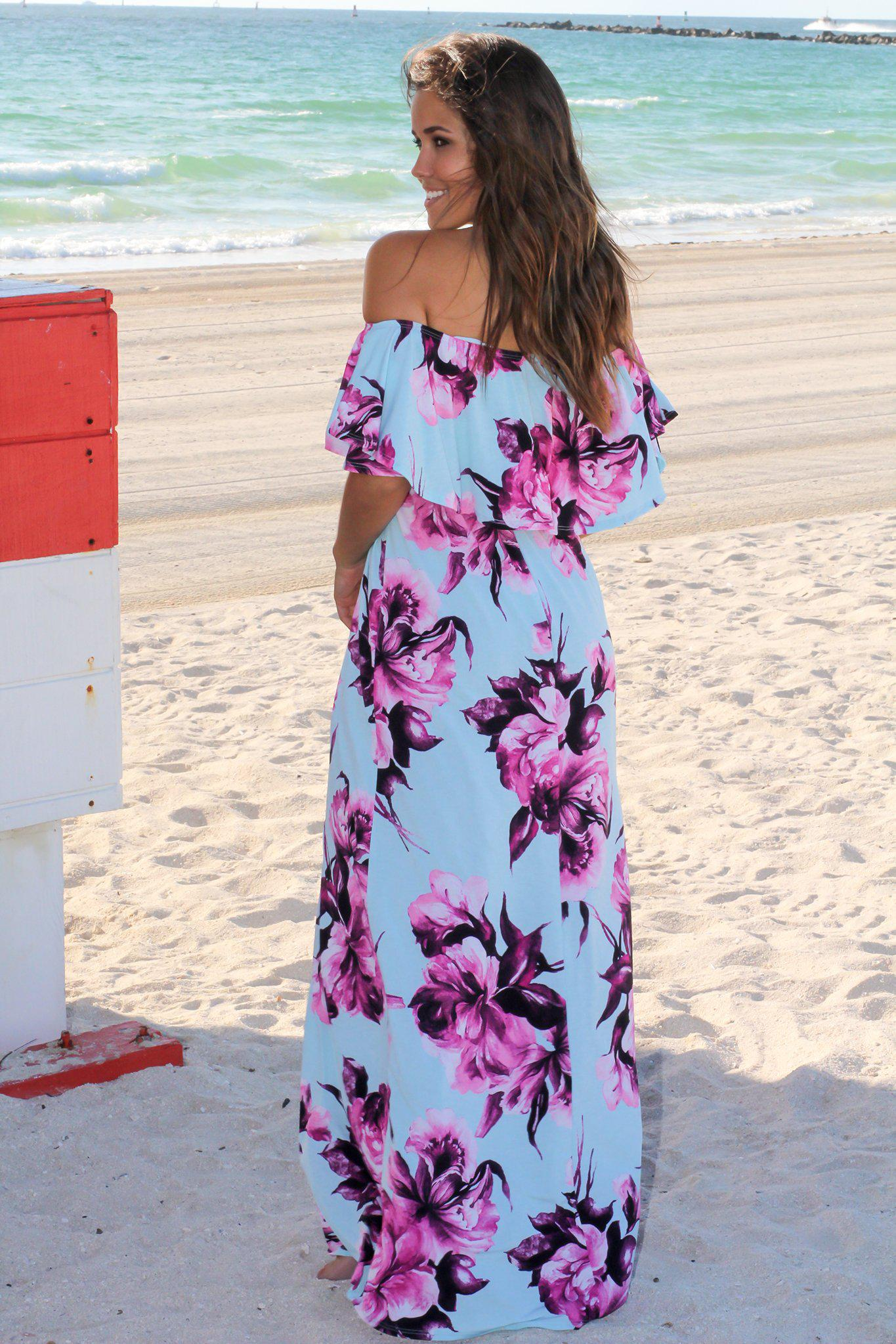 d14c3d983ccb ... Mint and Purple Floral Off Shoulder Maxi Dress