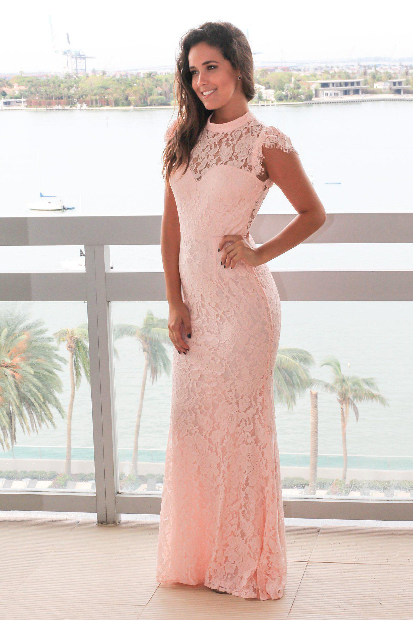 Pink High Neck Lace Maxi Dress with Open Back | Formal Dresses ...