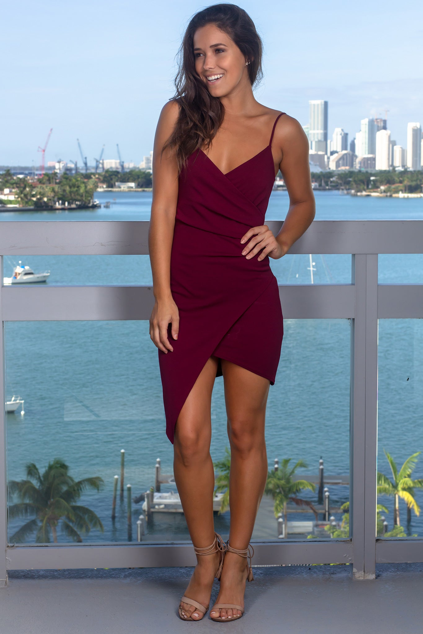 Burgundy Short Dress with Ruched Side