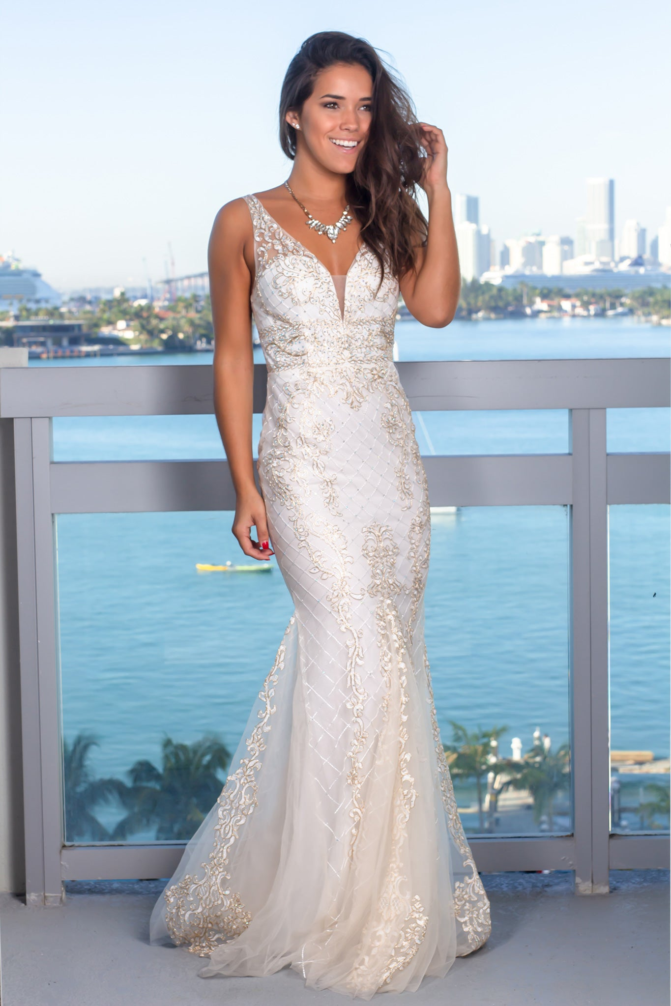 962cb8589d4 Off White Embroidered Maxi Dress with Tulle Detail  Dresses  Dress  Boutiques ...