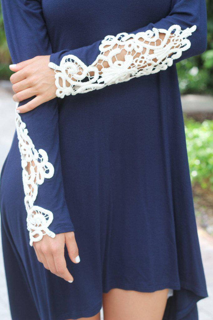 Navy Top / Dress With Crochet Sleeves