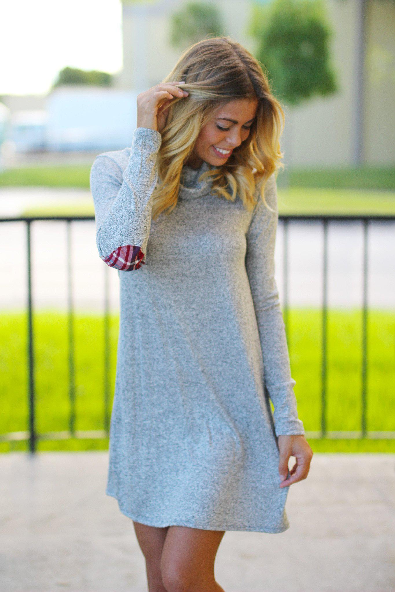 Gray Short Dress with Elbow Patches