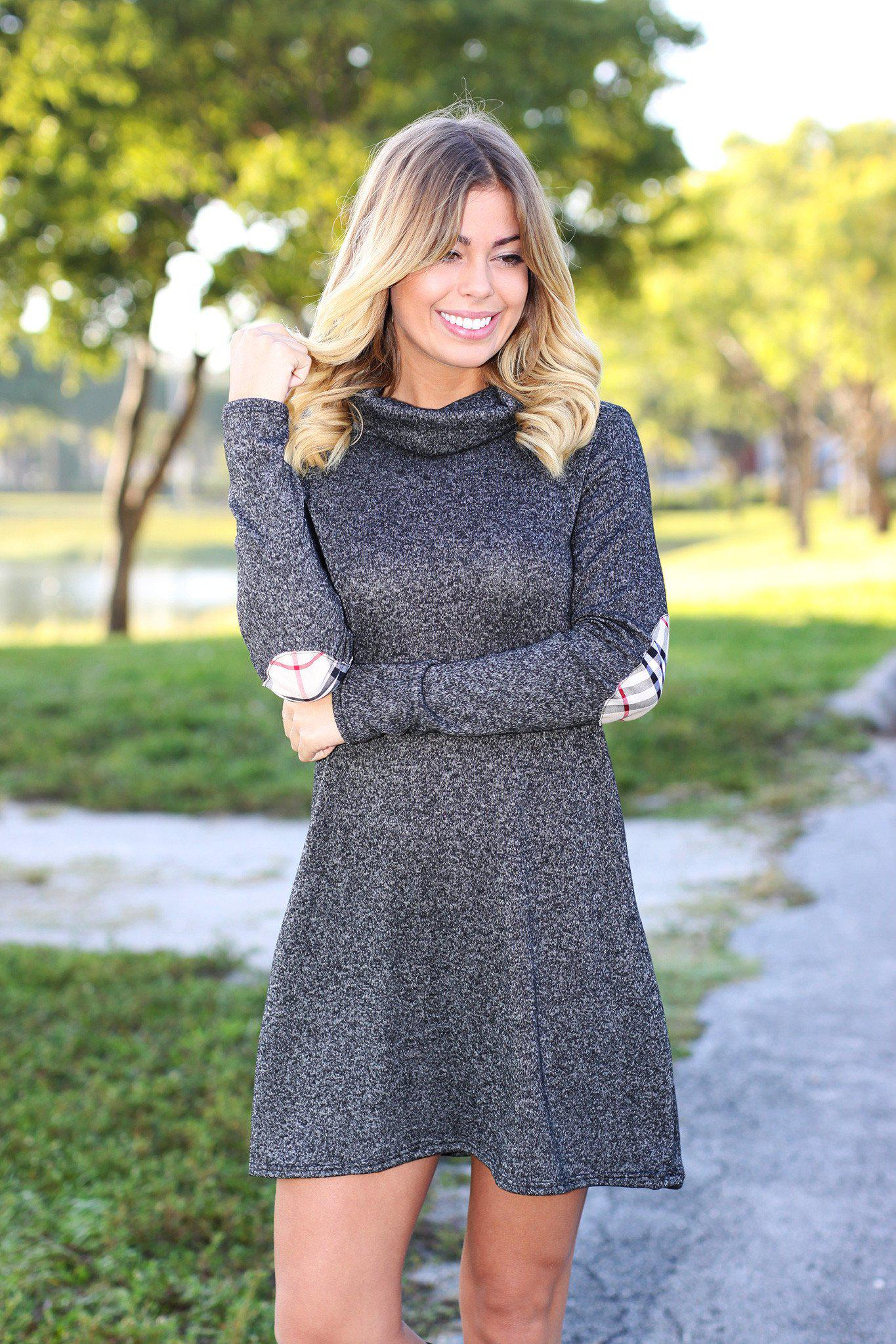 sweater dress with plaid elbow patches