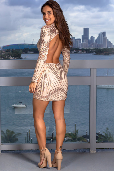 Rose Gold Open Back Short Dress
