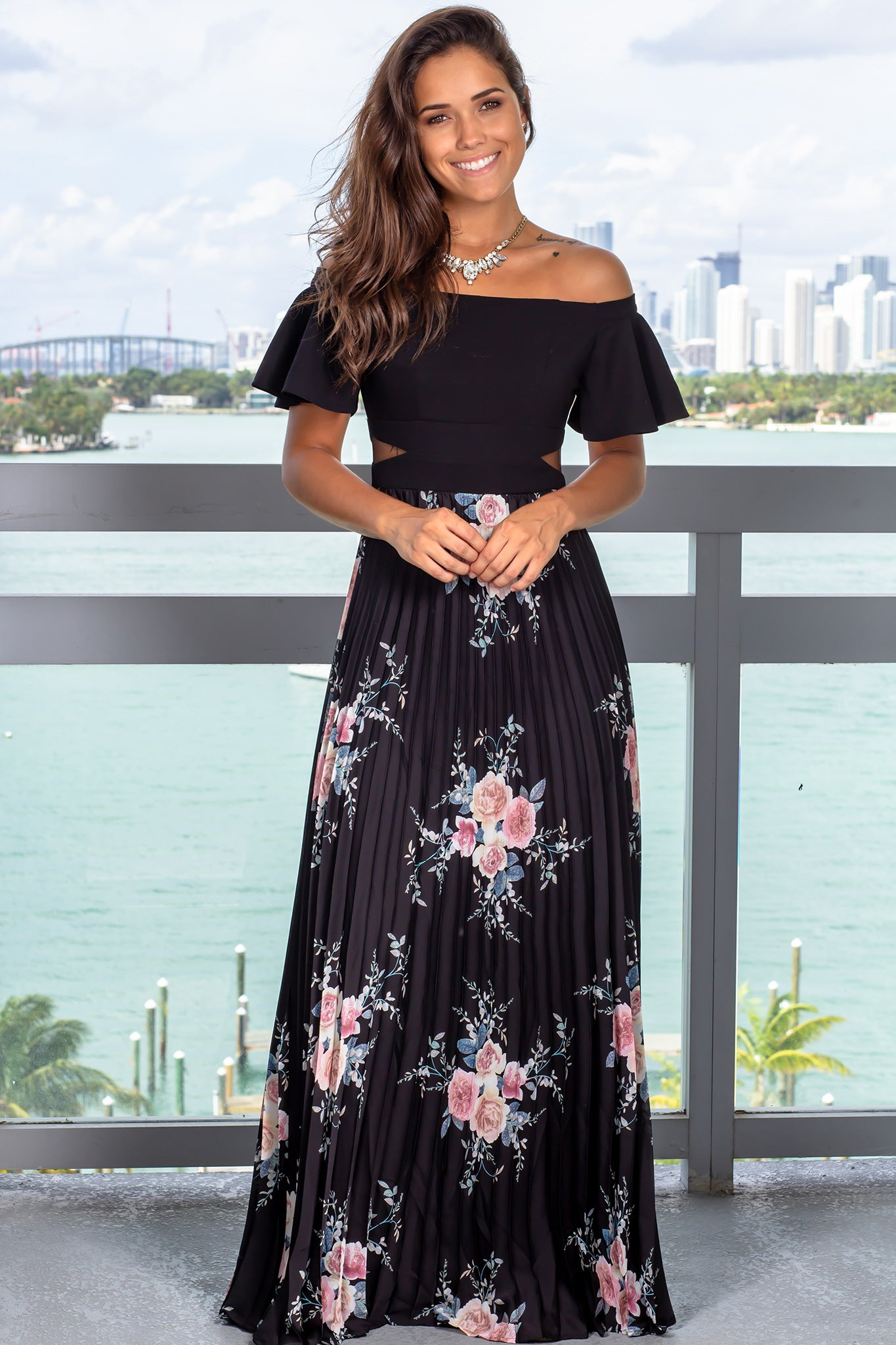 7300f0f57fb Black Floral Pleated Maxi Dress with Ruffle Sleeves  Dresses ...