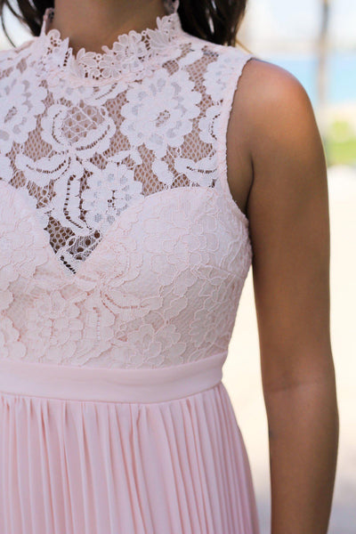 Pink Lace Maxi Dress With Pleated Skirt Bridesmaid