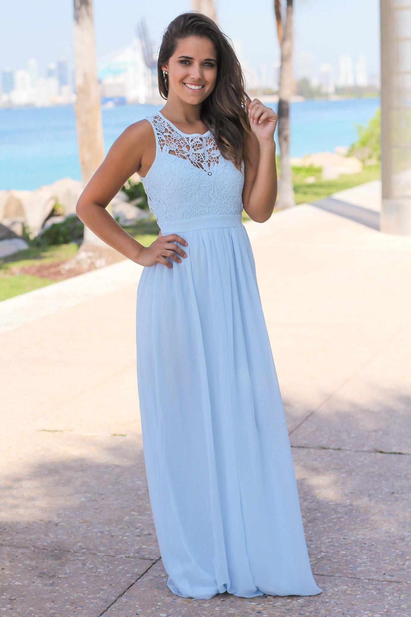 Light Blue Crochet Maxi Dress with Open Back | Bridesmaid ...