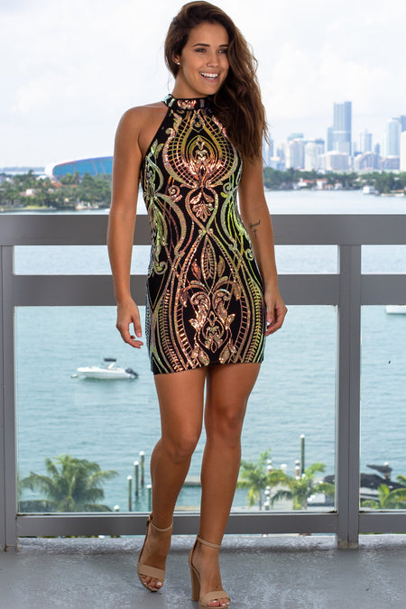 Black Iridescent Halter Neck Short Dress
