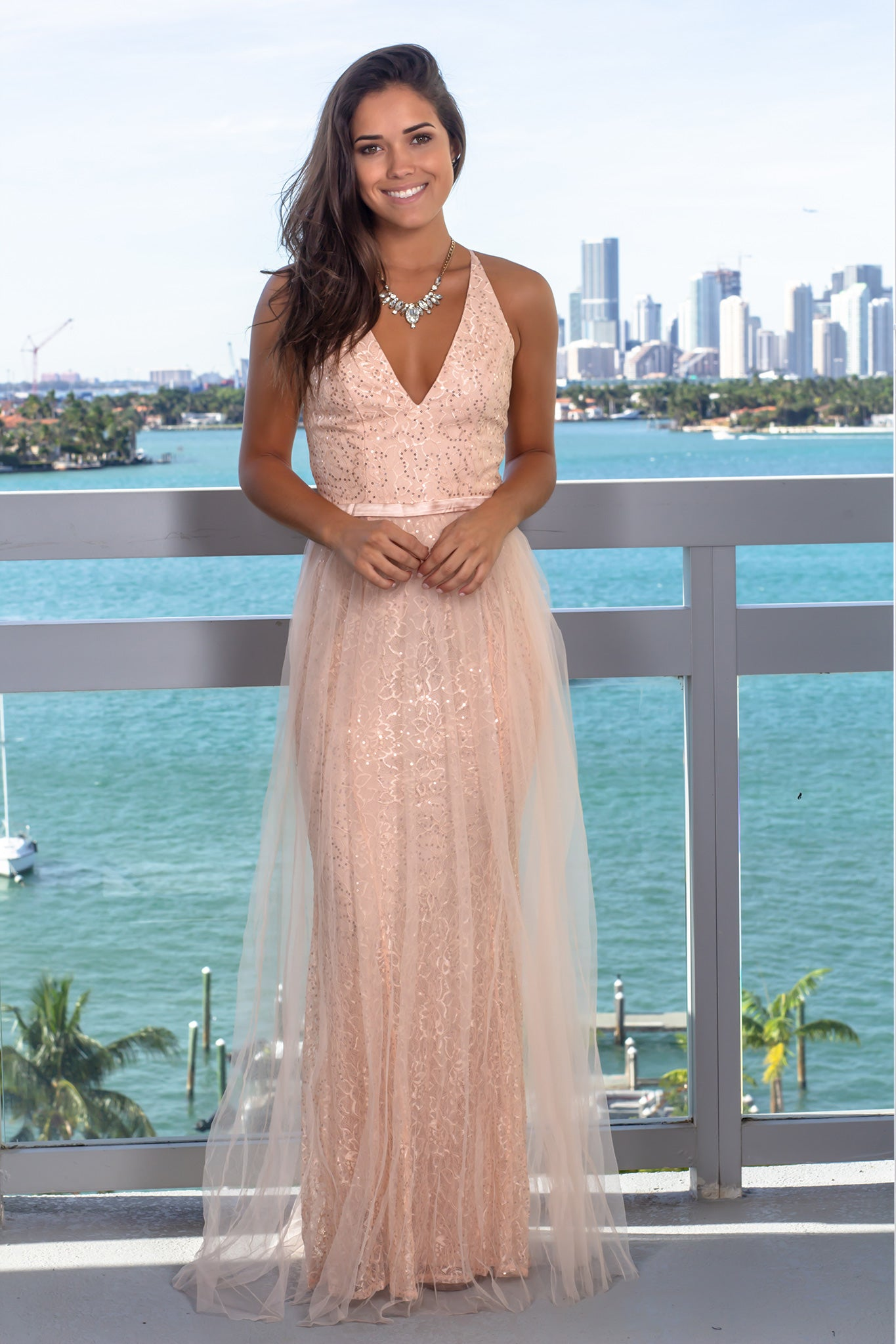 4f94e69165 Blush Lace Maxi Dress with Tulle Detail  Dresses ...