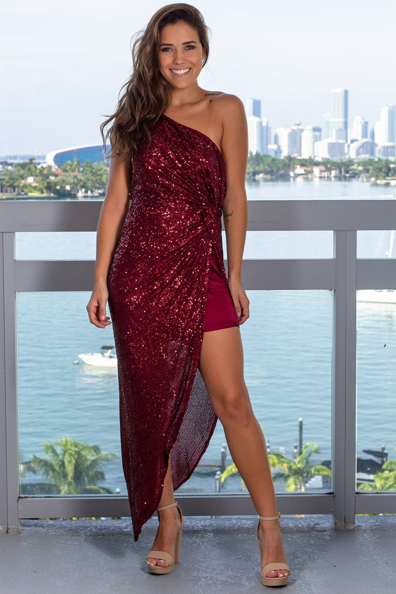 Wine One Shoulder Sequin Maxi Dress