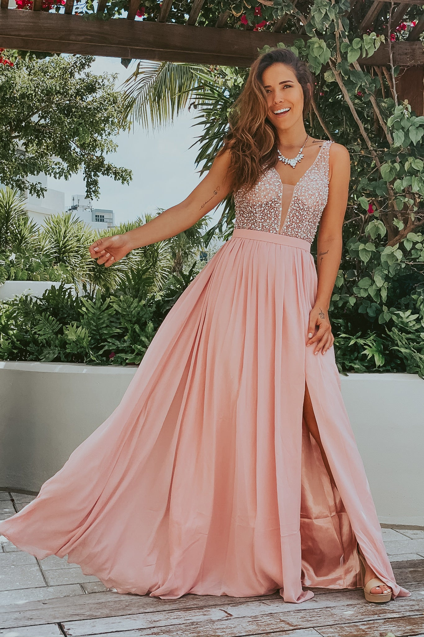 Dusty Pink Sequin Top Maxi Dress with Side Slit