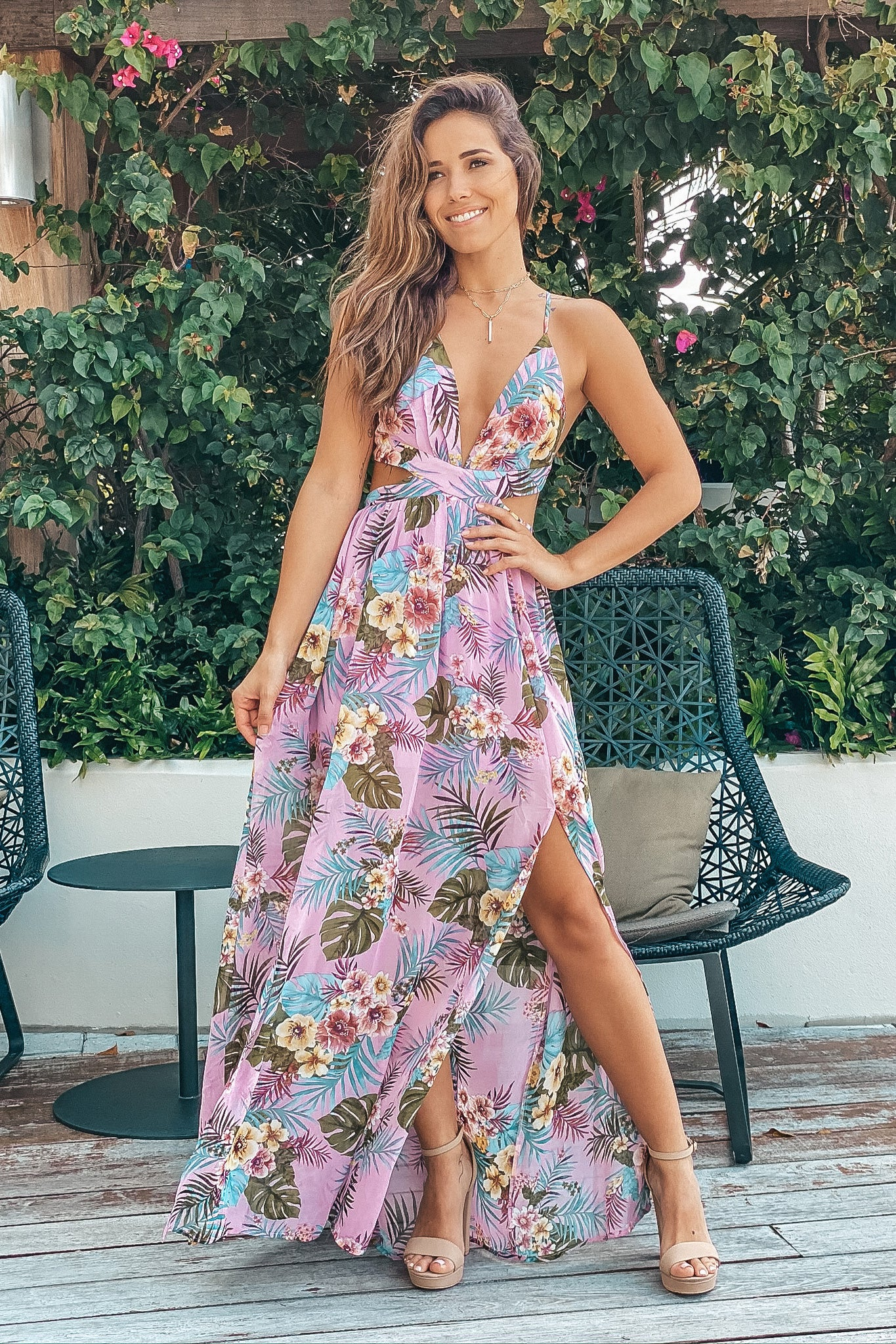Dusty Pink Tropical Maxi Dress with Cutouts
