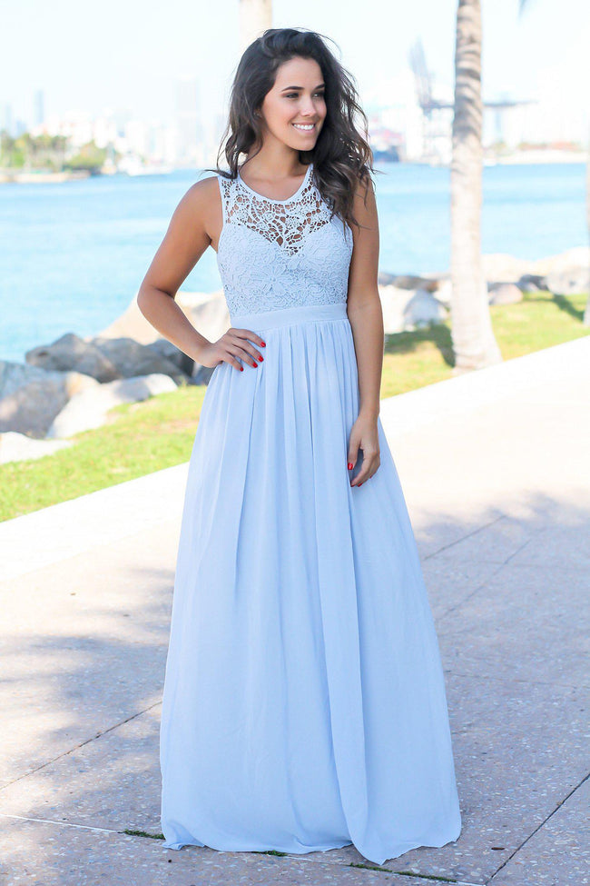 Dusty Blue Crochet Maxi Dress with Open Back