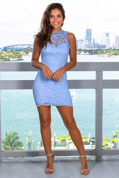 Dusty Blue Lace Open Back Short Dress