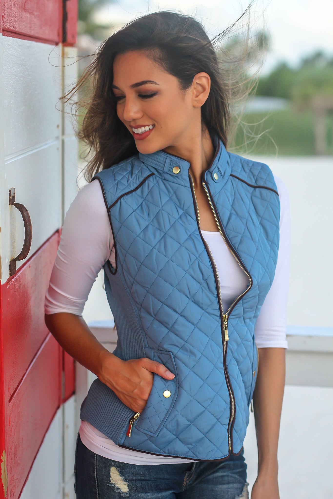 Dusty Blue Quilted Vest with Pockets