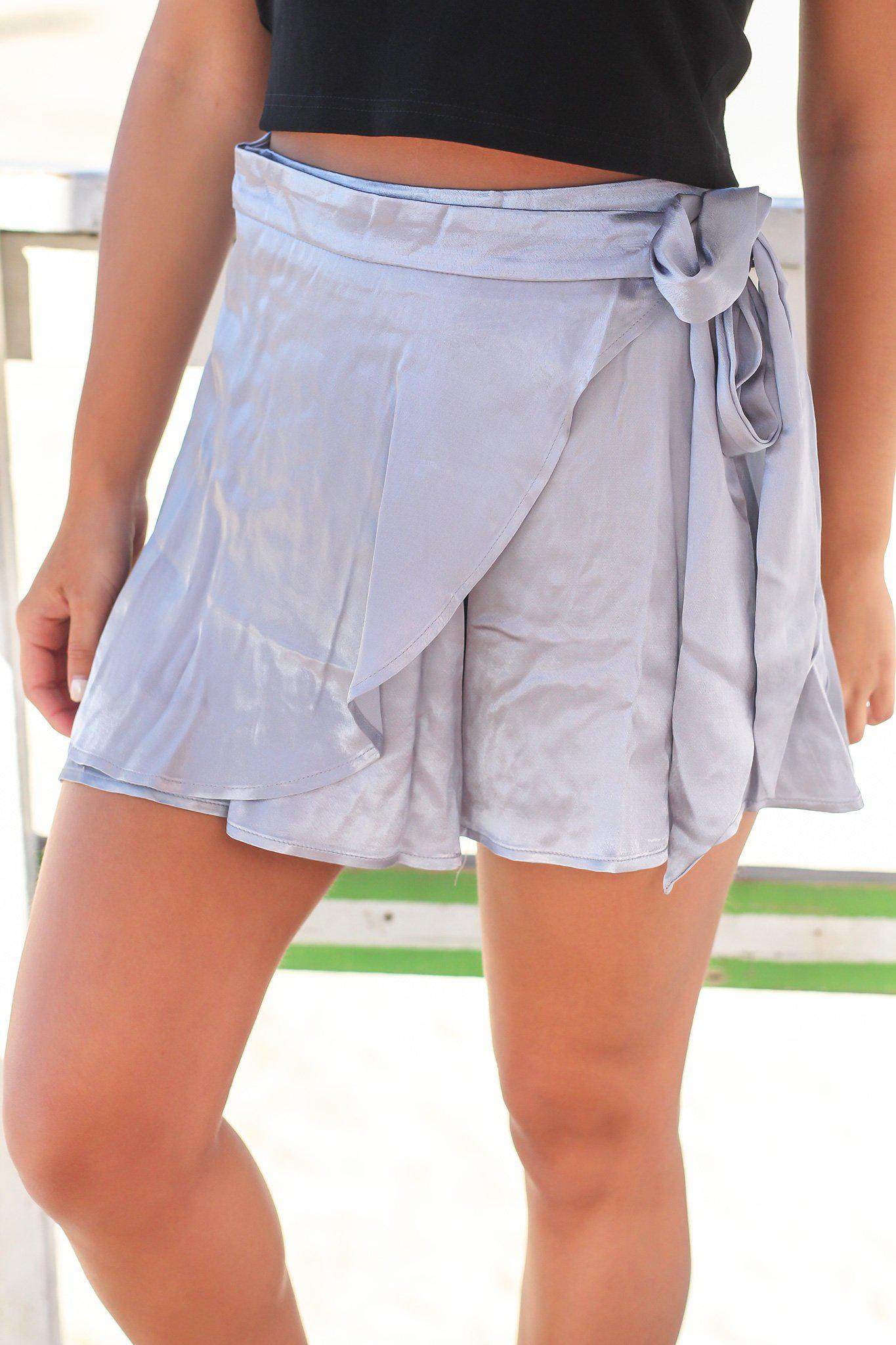 Dusty Blue Silky Wrap Skort