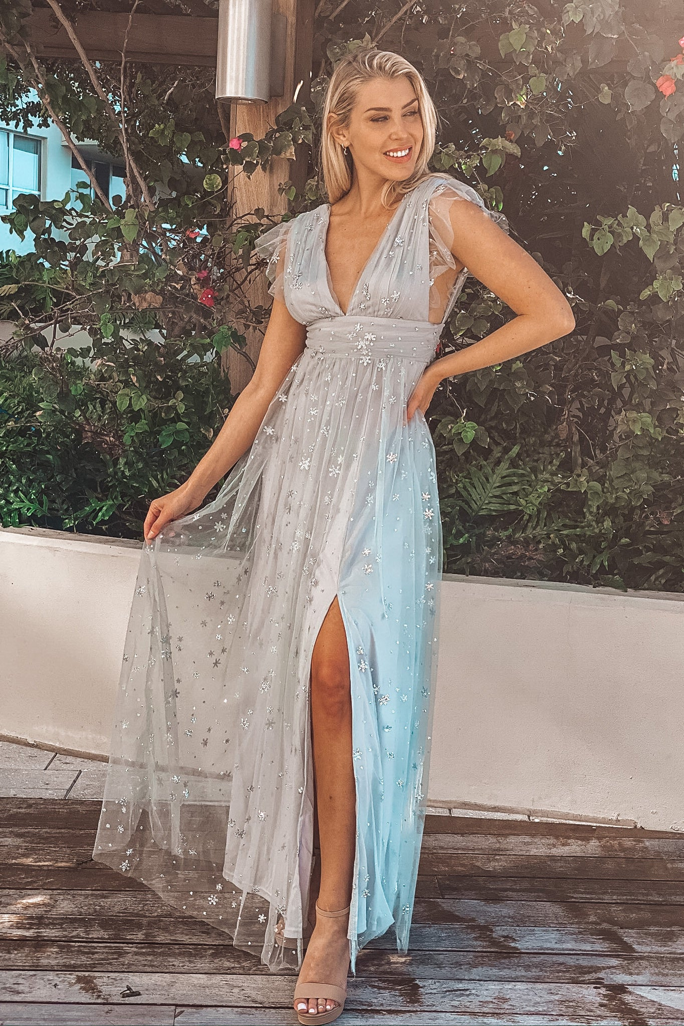 Dusty Blue and Silver Glitter Tulle Maxi Dress