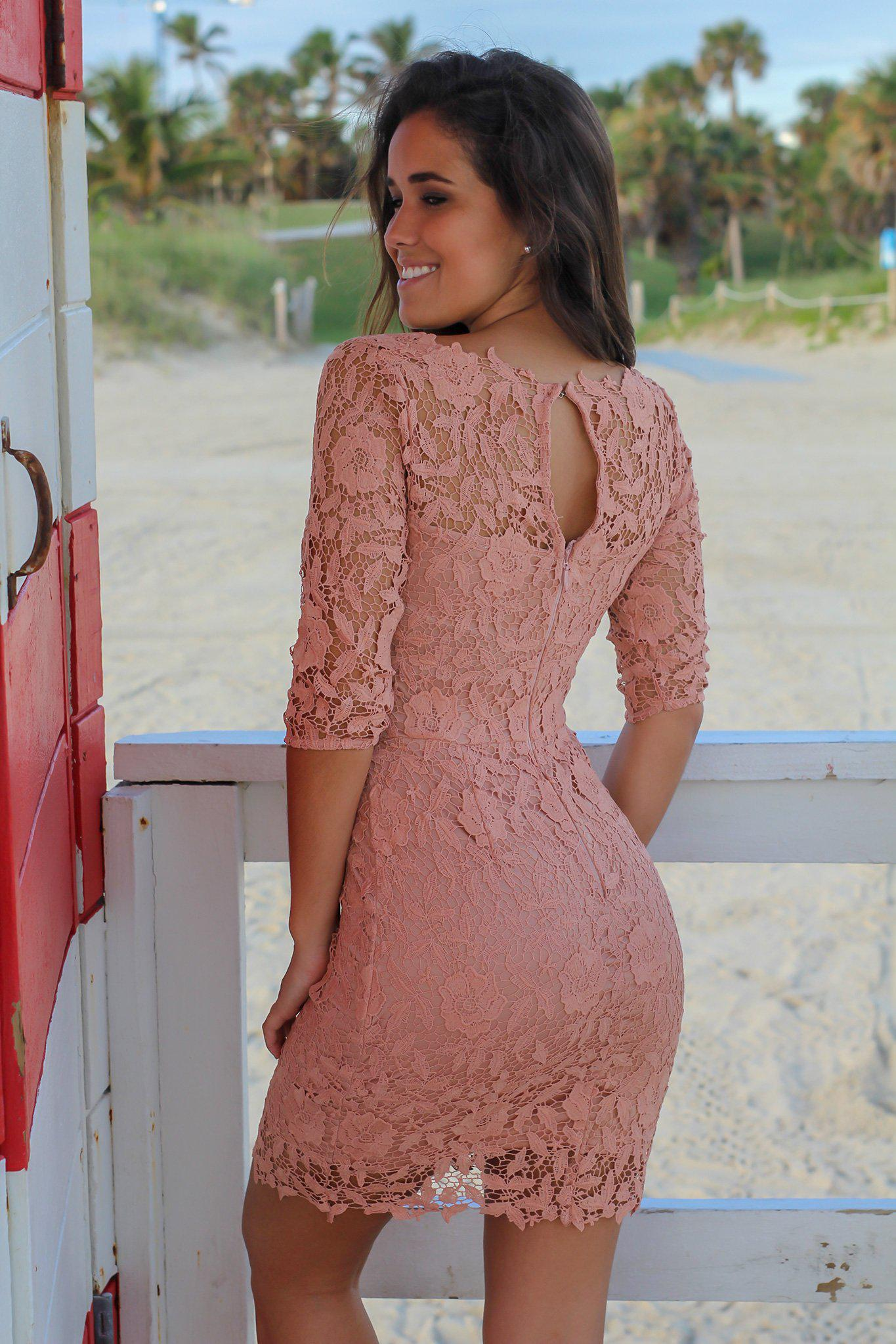Dusty Blush Crochet Short Dress with 3/4 Sleeves
