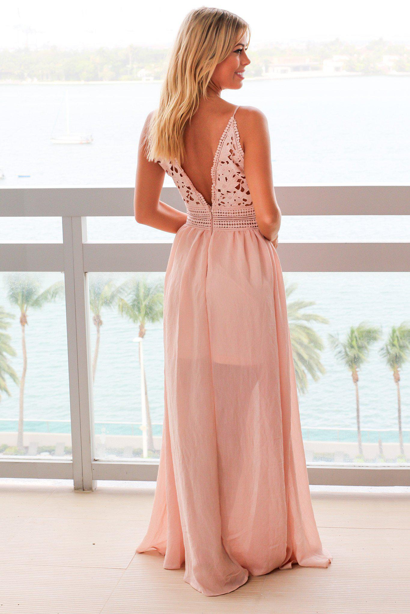 Dusty Blush Maxi Dress with Crochet Top