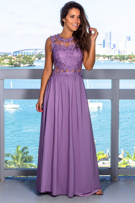 Dusty Lilac Lace Top Maxi Dress