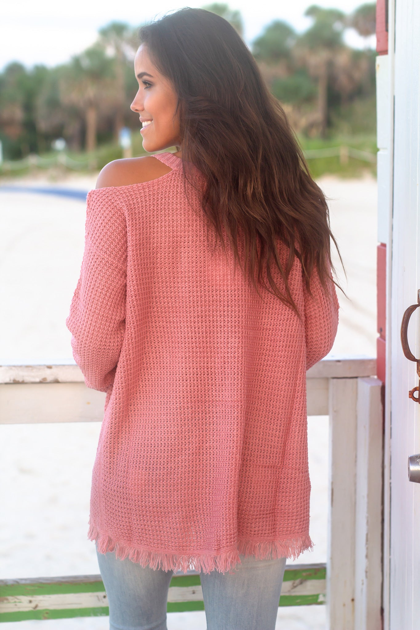 Dusty Mauve Knit Cold Shoulder Sweater