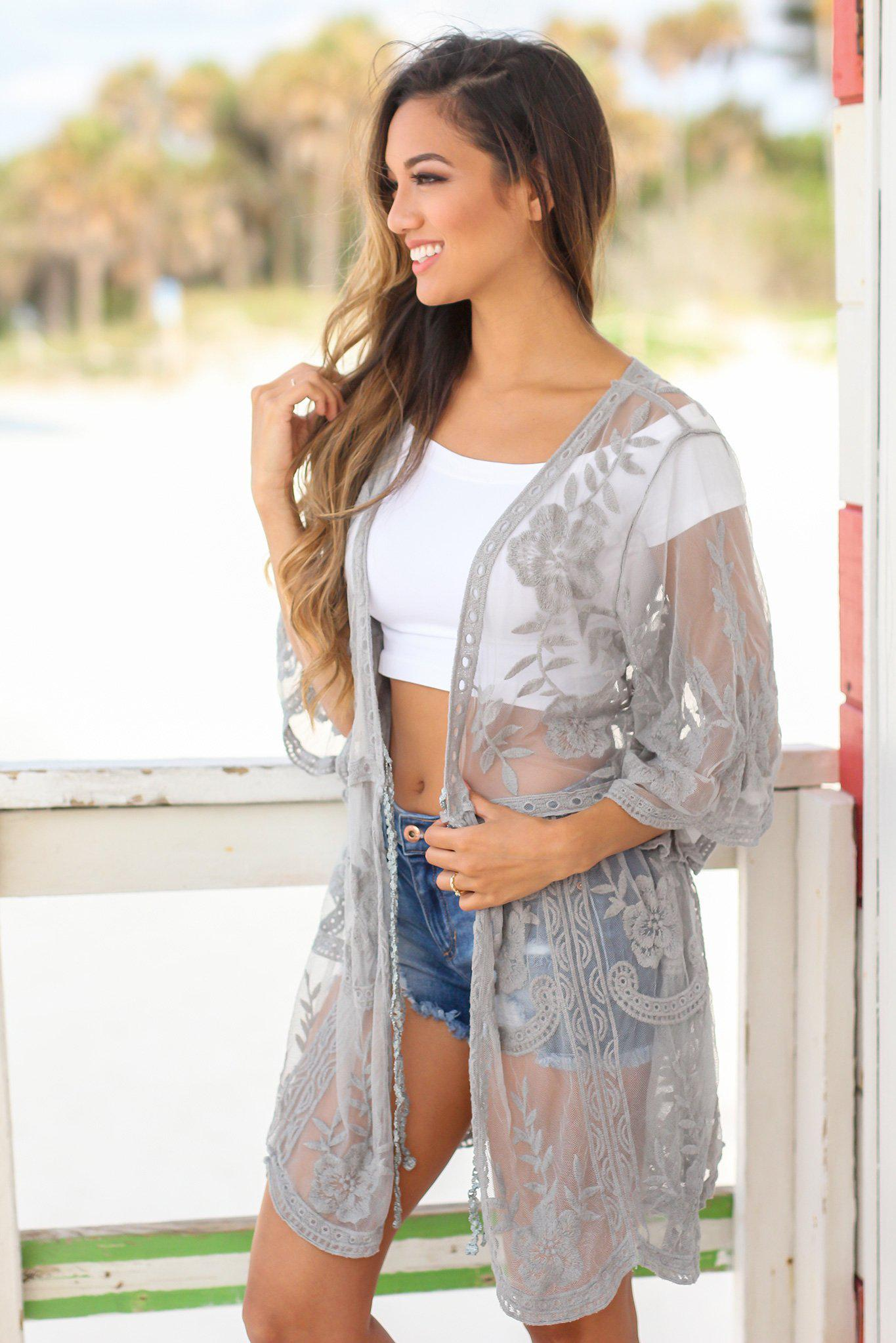 Dusty Mint Embroidered Kimono