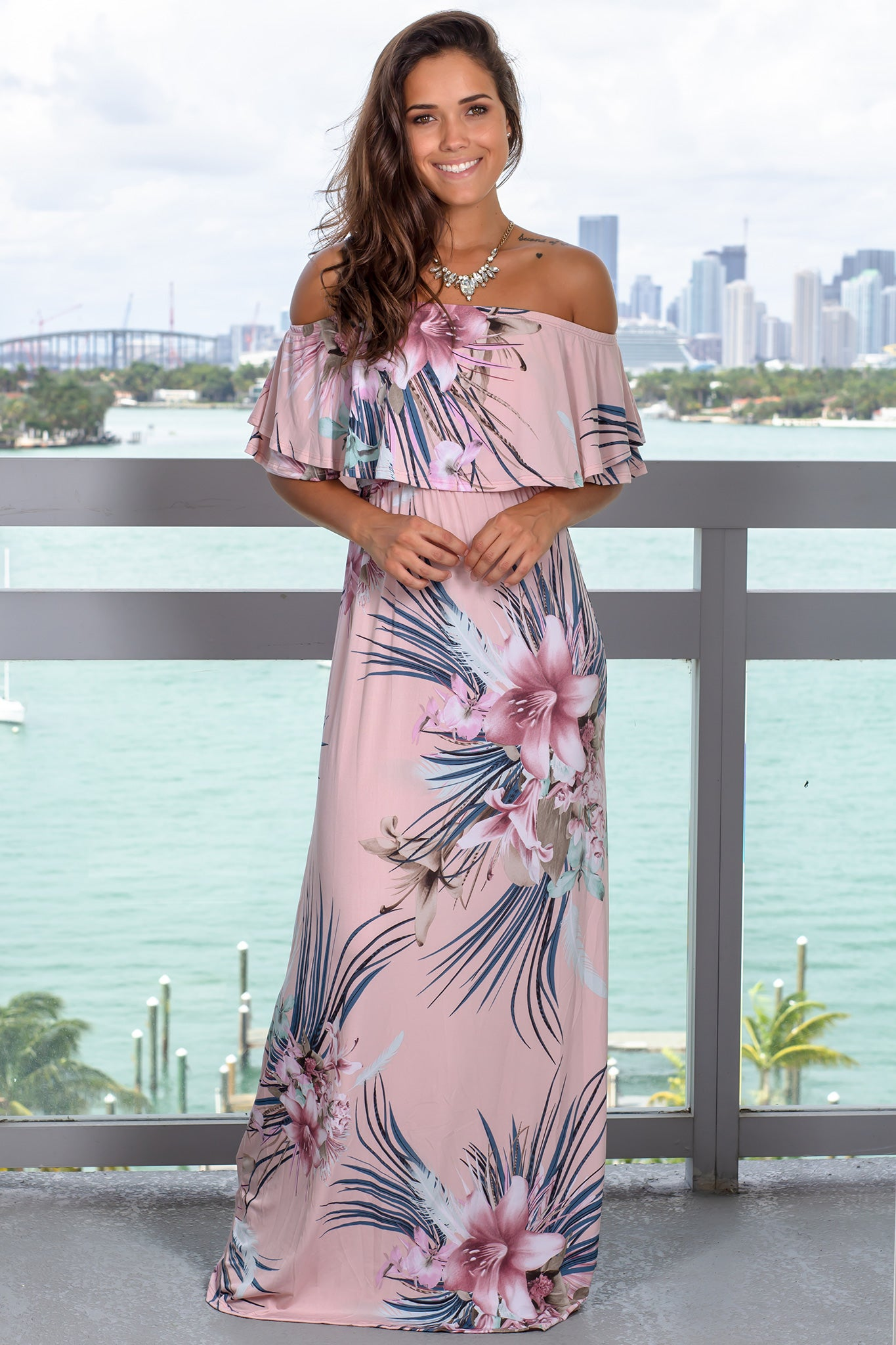 Dusty Pink Floral Off Shoulder Ruffle Top Maxi Dress