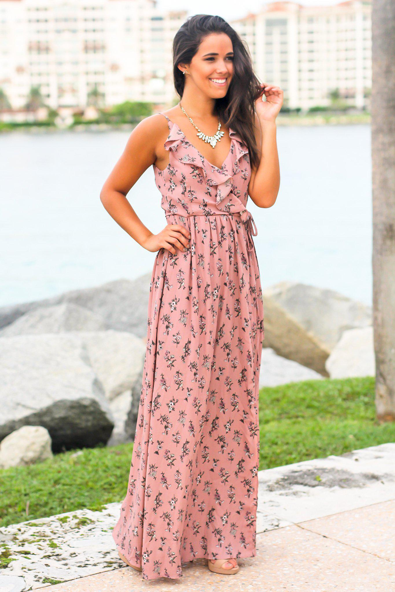 Dusty Pink Floral Wrap Dress